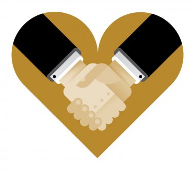 Heart with interracial business handshake.