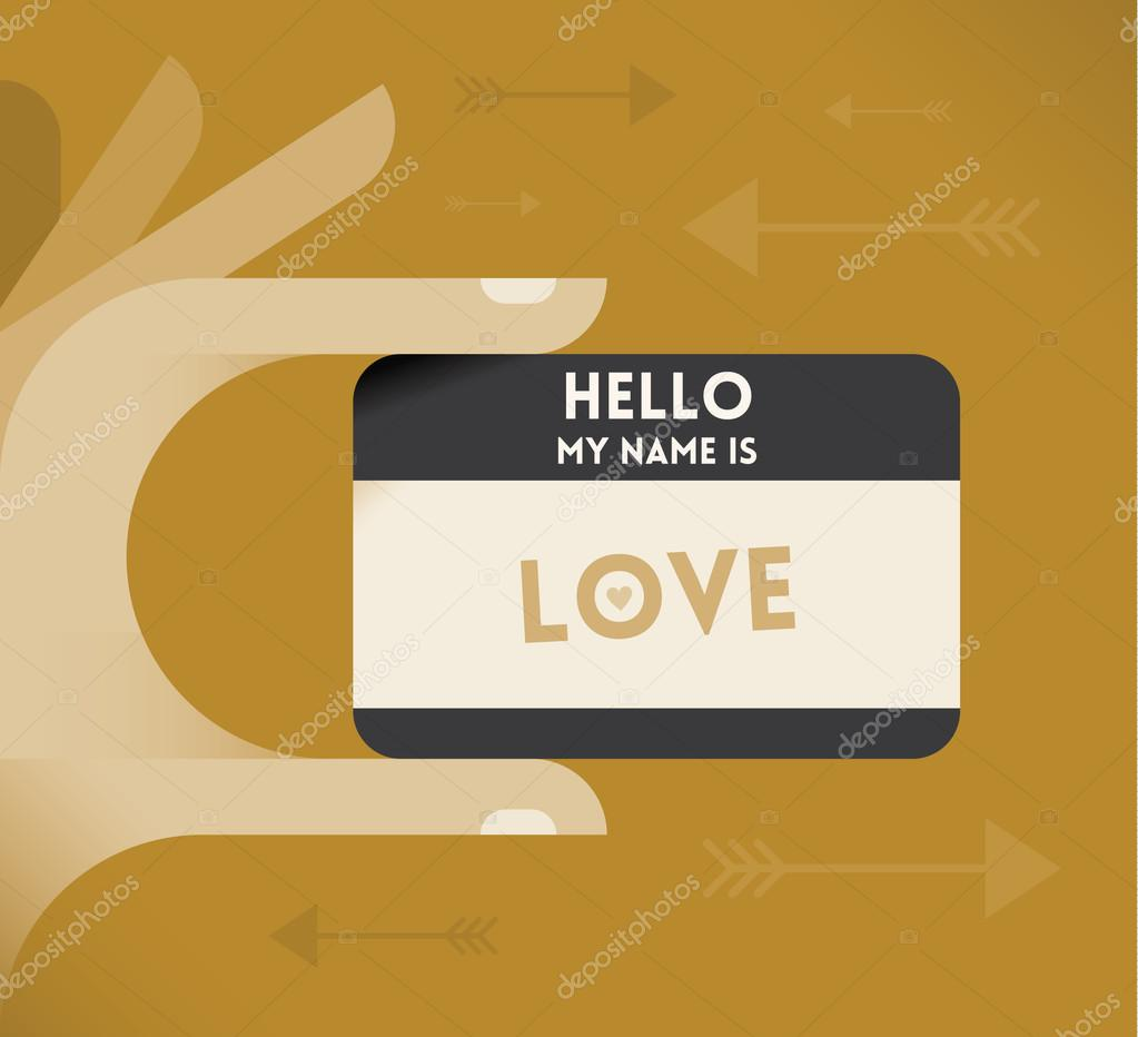 Human Hand With Abstract Name Card Hello My Is Love Cupids Arrows On The Background Vintage Style Vector Illustration By HannaTolak