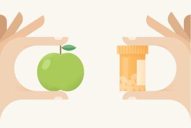 Healthy food with vitamins or medical nutrients?