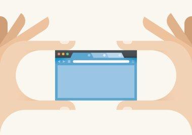 Internet browser window in human hands.