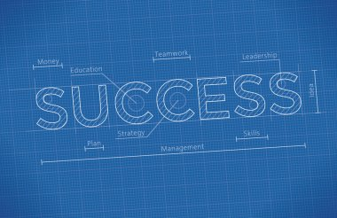 Business Blueprint with Success word.