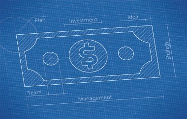 Blueprint with dollar banknote.