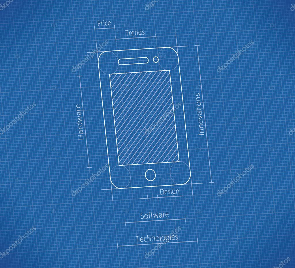 Mobile Smartphone Blueprint Concepts Digital Technology Trends Production Design Hardware Components Software Quality Innovations Ideas Electronics Industry Business New Cellphone Models Stock Vector C Hannatolak 69691595