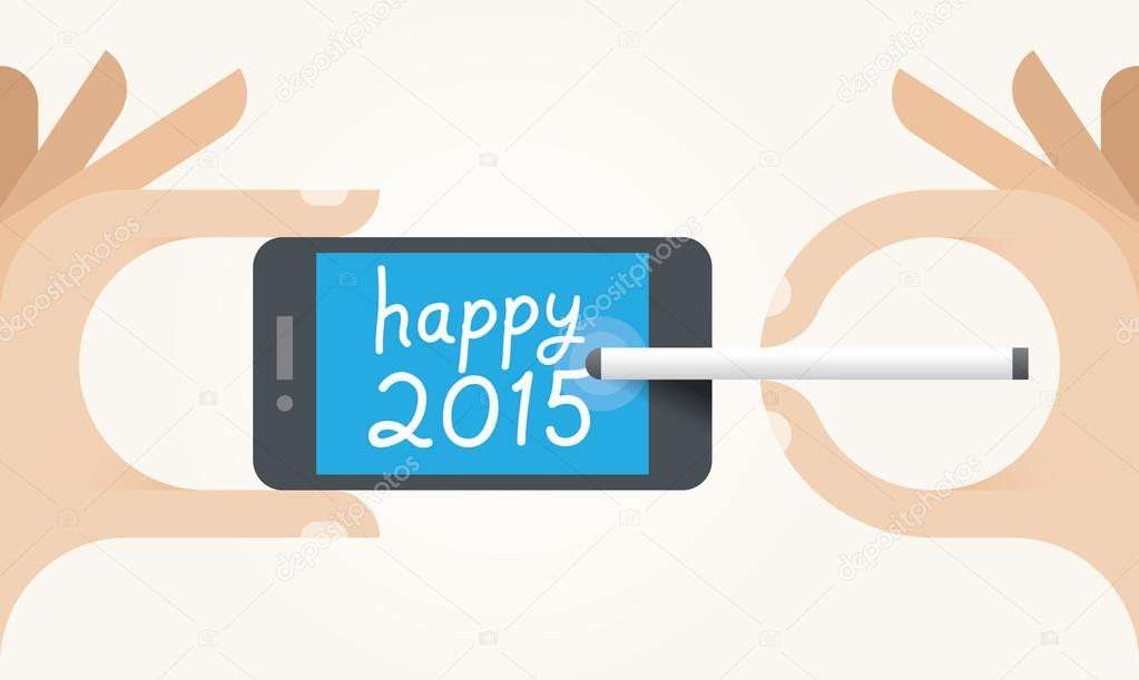Human hands holding mobile and writing Happy 2015 SMS message on screen. Idea - New Year 2015 celebration and mobile technologies for New Year Eve congratulations.
