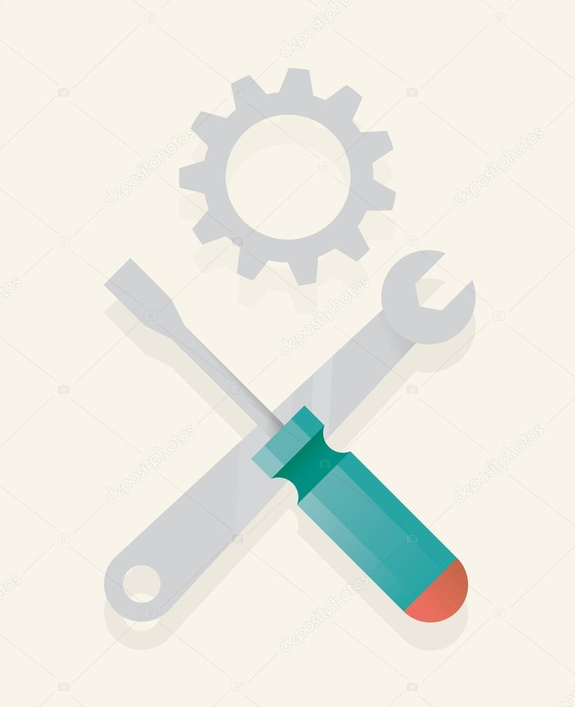 Abstract unusual repair symbol icon with screwdriver, wrench and gear in form of skull and crossbones sign.  Technology, work, construction, repair service concepts.