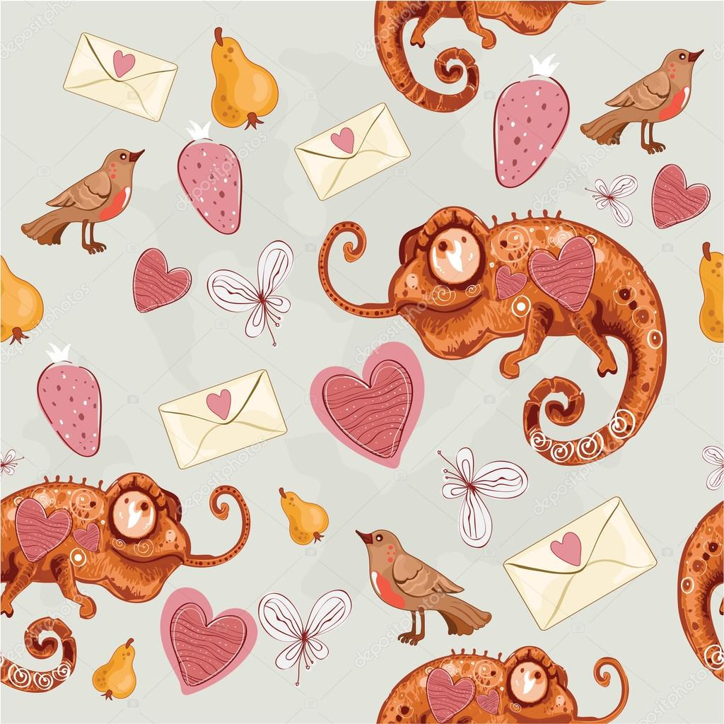 Chameleon with hearts and envelopes