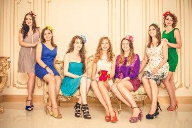 Girls celebrate a bachelorette party of bride