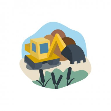Excavator on the marsh land work near reeds, logo, illustration, modern vector illustrations for your business