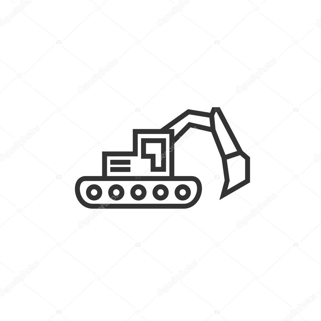 bulldozer excavator linear style flat business logo modern design