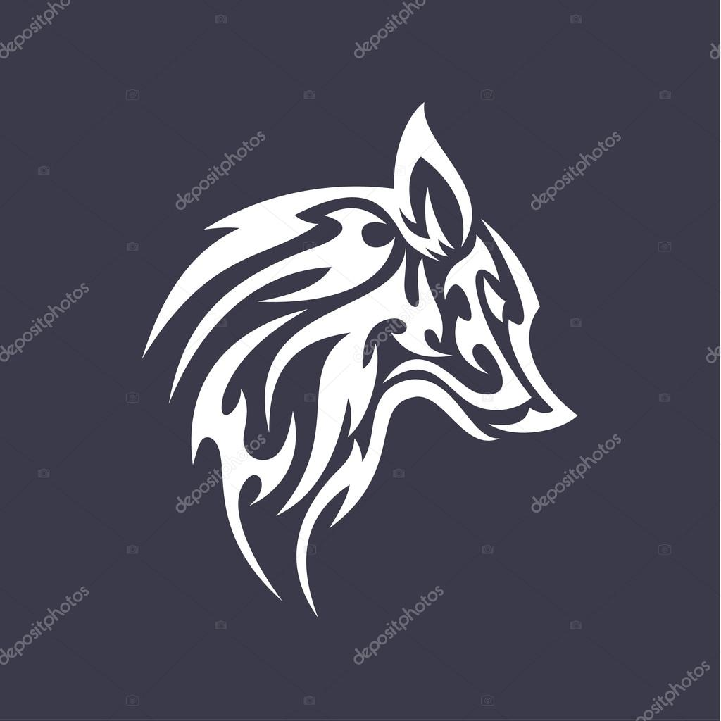 wolf flat tattoo style logo design vector smoother stylized animal