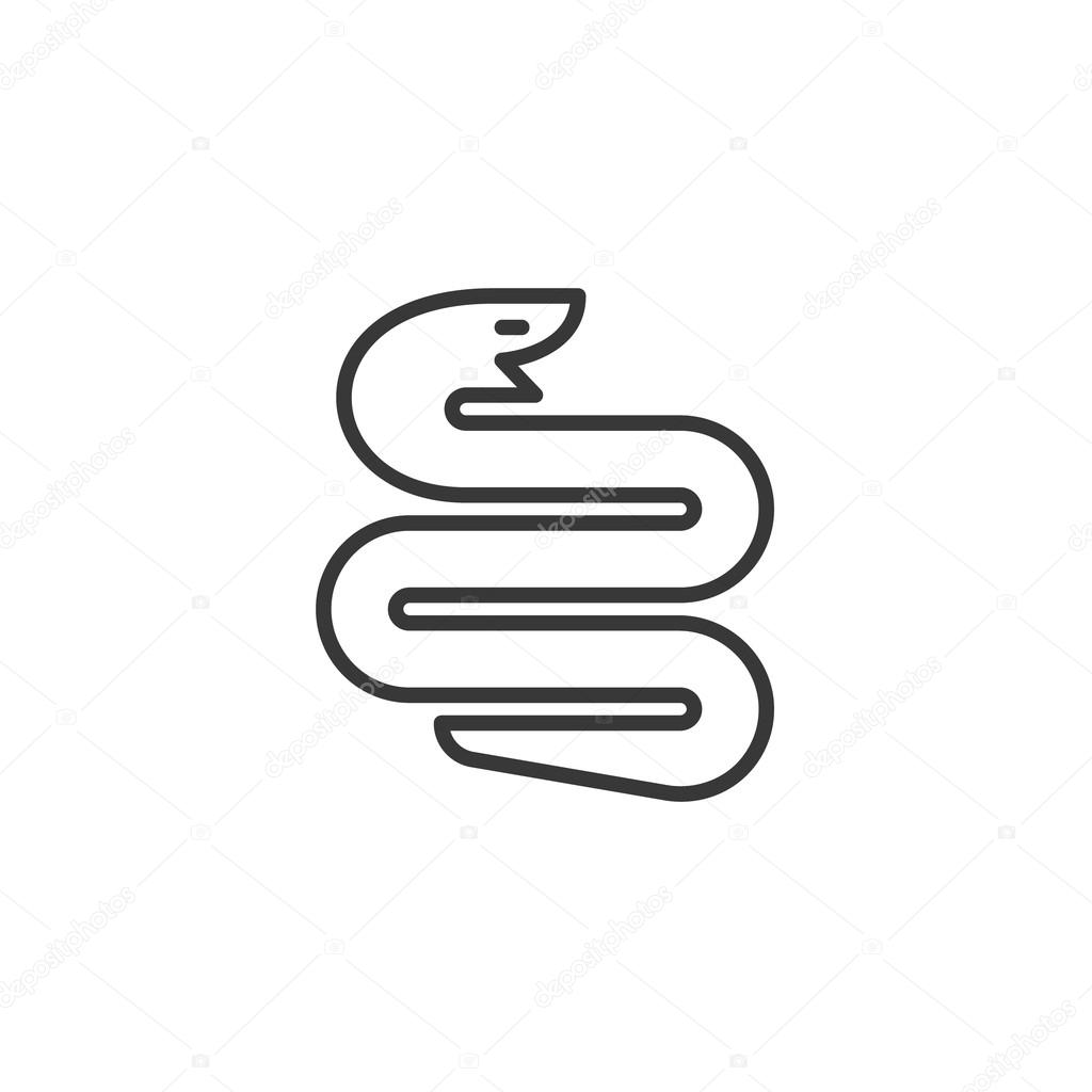 snake symbol twisted into the geometric shape sign illustration of