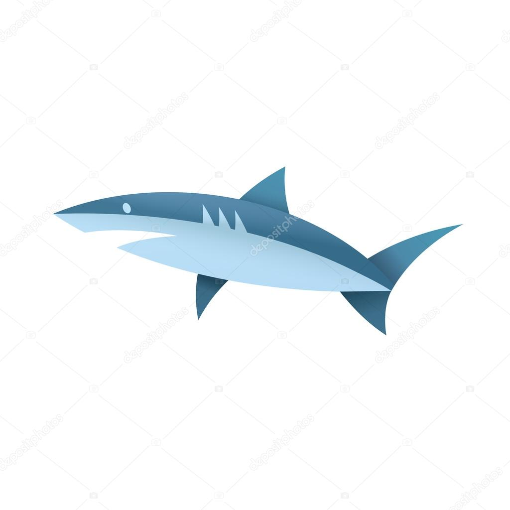 Shark in blue colors illustration of a modern logo marine animals, quality unique style