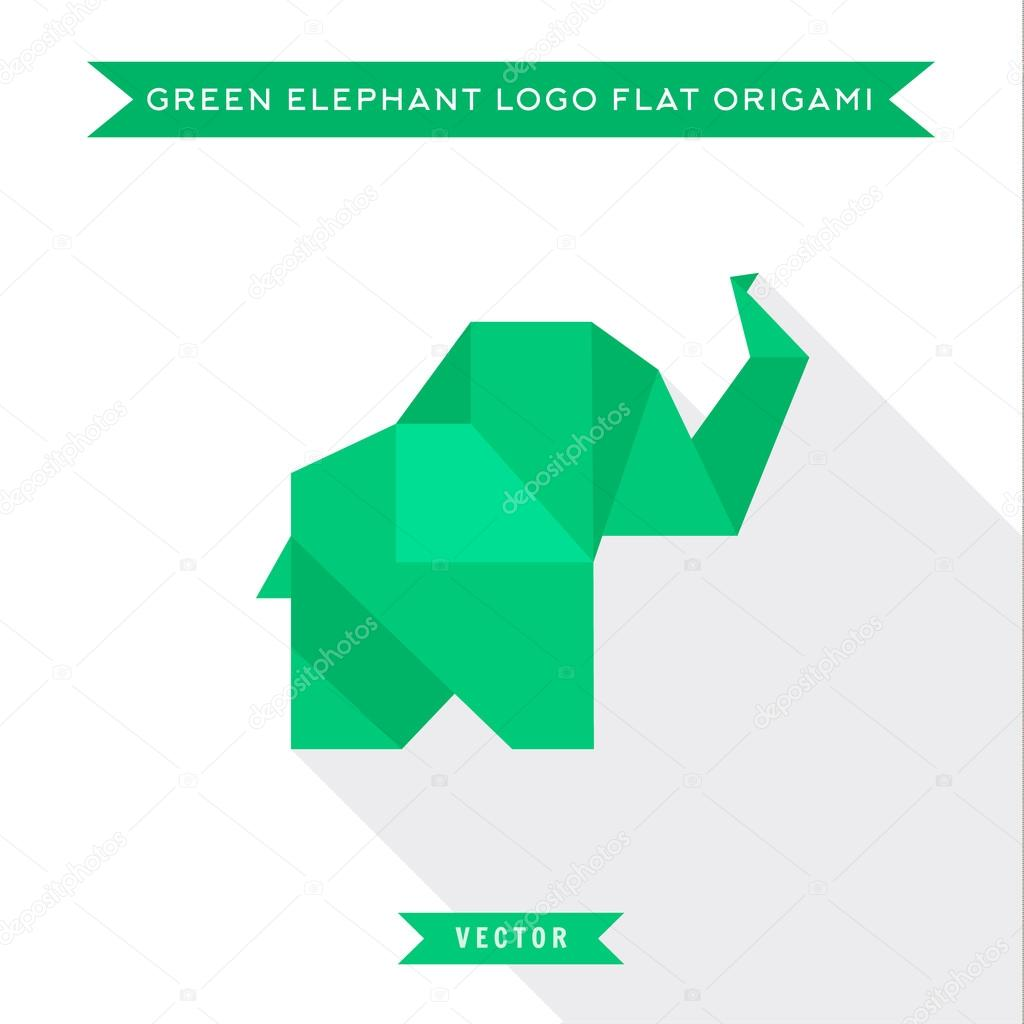 Green origami elephant logo in flat high quality vector green origami elephant logo in flat high quality vector illustration with low shadow jeuxipadfo Choice Image