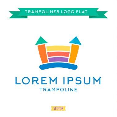 Logo inflatable kids trampoline color, vector illustration