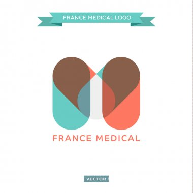The letter M in the form of pills, medical and built French flag, vector trend style