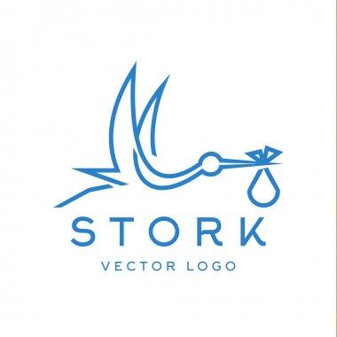 Stork brings baby, trendy brand logos outline