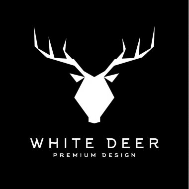 Deer head with antlers trendy style vector logo