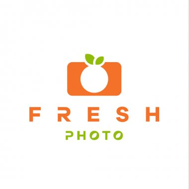 mandarin, orange logo form camera with double meaning flat style