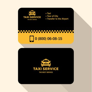 Business card taxi driver, flat modern trendy style yellow and black plastic credit