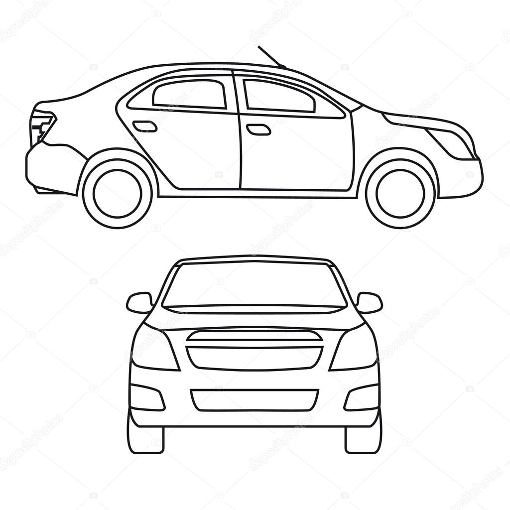 Drawing car, vector illustration, side view and front — Stock Vector ...
