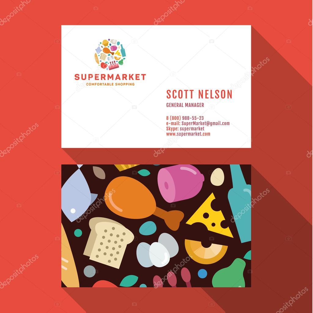 Business card qualitative elegant vector logo and professional business card qualitative elegant vector logo and professional layout supermarket food vetores de stock reheart Images