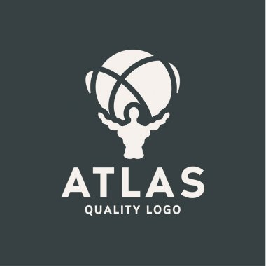 Atlant Atlas holds earth quality stylized logo for your company vector trendy style flat