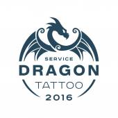 Photo Dragon logo tattoo service in style the flat of one color