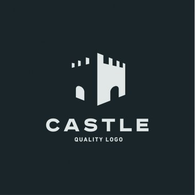 Abstract castle fortress trending flat quality logo vector sign