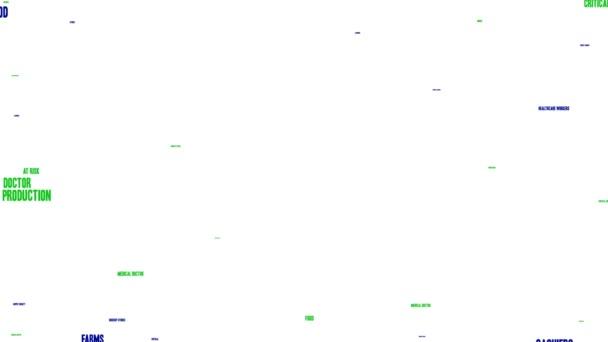 Essential Workers animierte Wortwolke auf weißem Hintergrund.