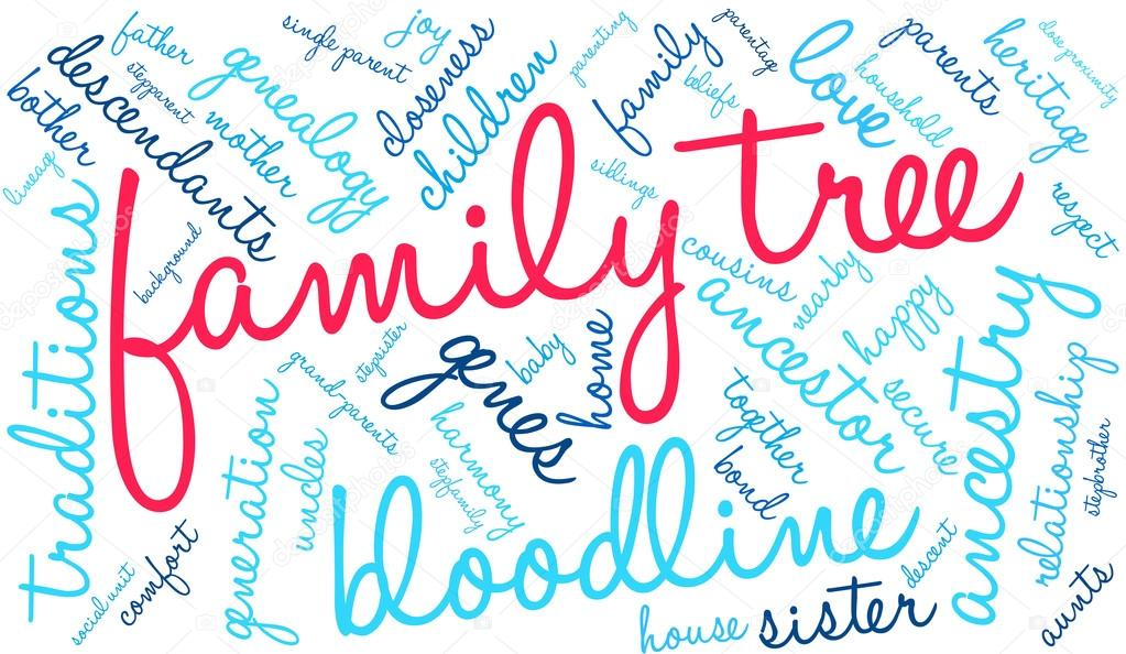 family tree word cloud stock vector arloo 88590830