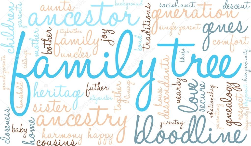 family tree word cloud stock vector arloo 88590960