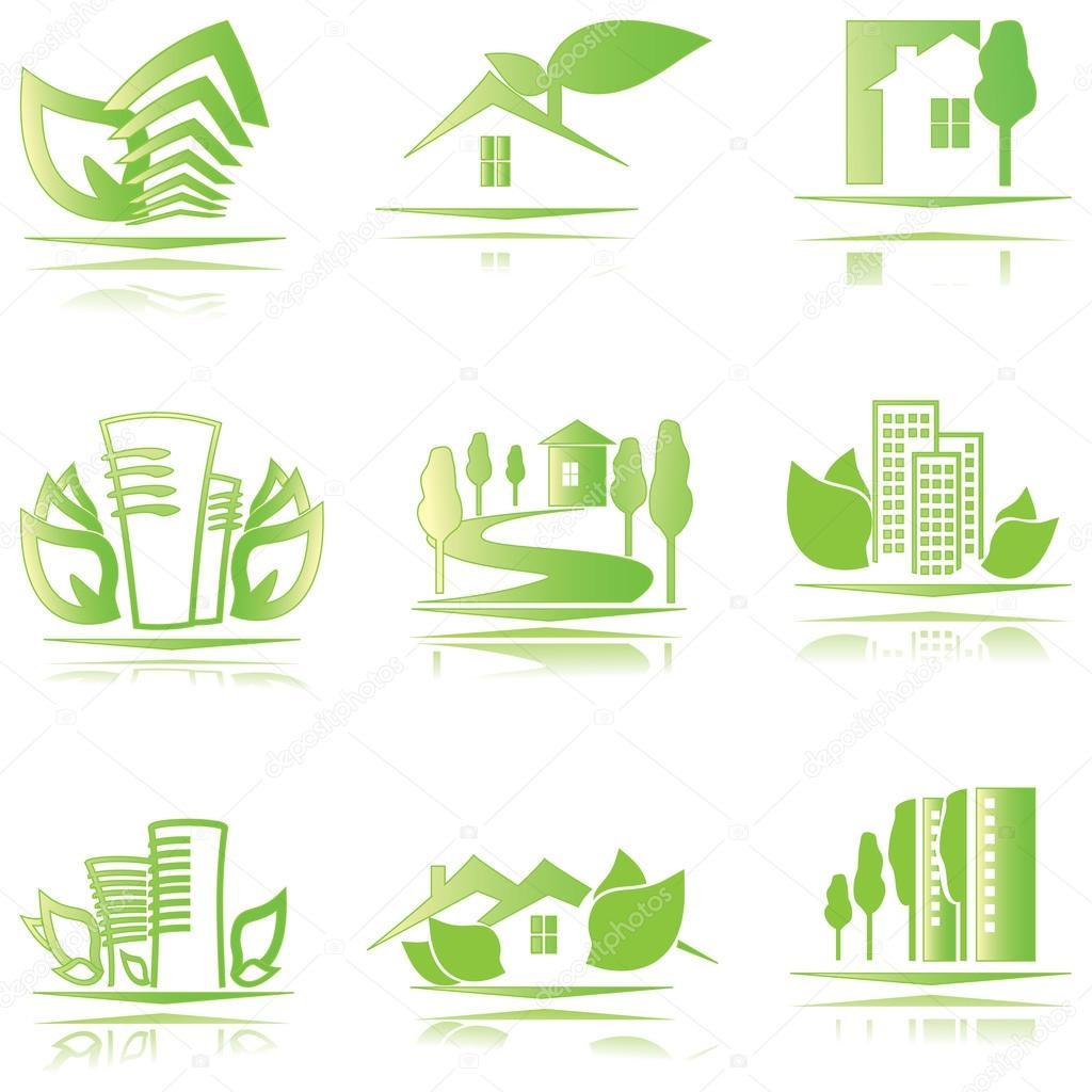 conjunto de eco casas iconos u vector de