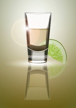 Tequila with lime illustration