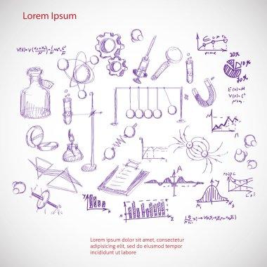 hand drawn science symbols