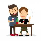 Fotografie Betrunken Männer am Tisch