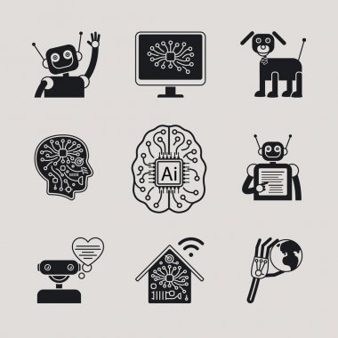 AI, Artificial Intelligence icons and signs