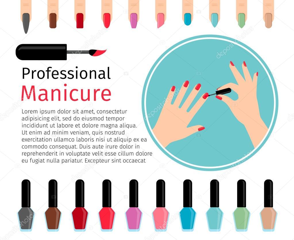 Esmalte de uñas y uñas de diferentes colores — Vector de stock ...