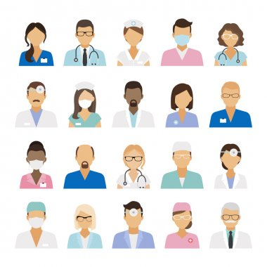Medical staff icons