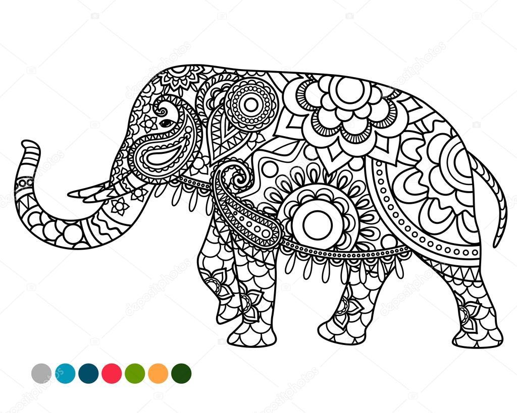 Ornamento de mandala de elefantes con muestras de colores — Archivo ...