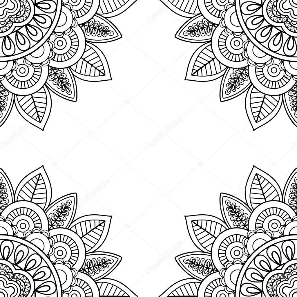 Marco floral indio para libro de páginas para colorear — Archivo ...