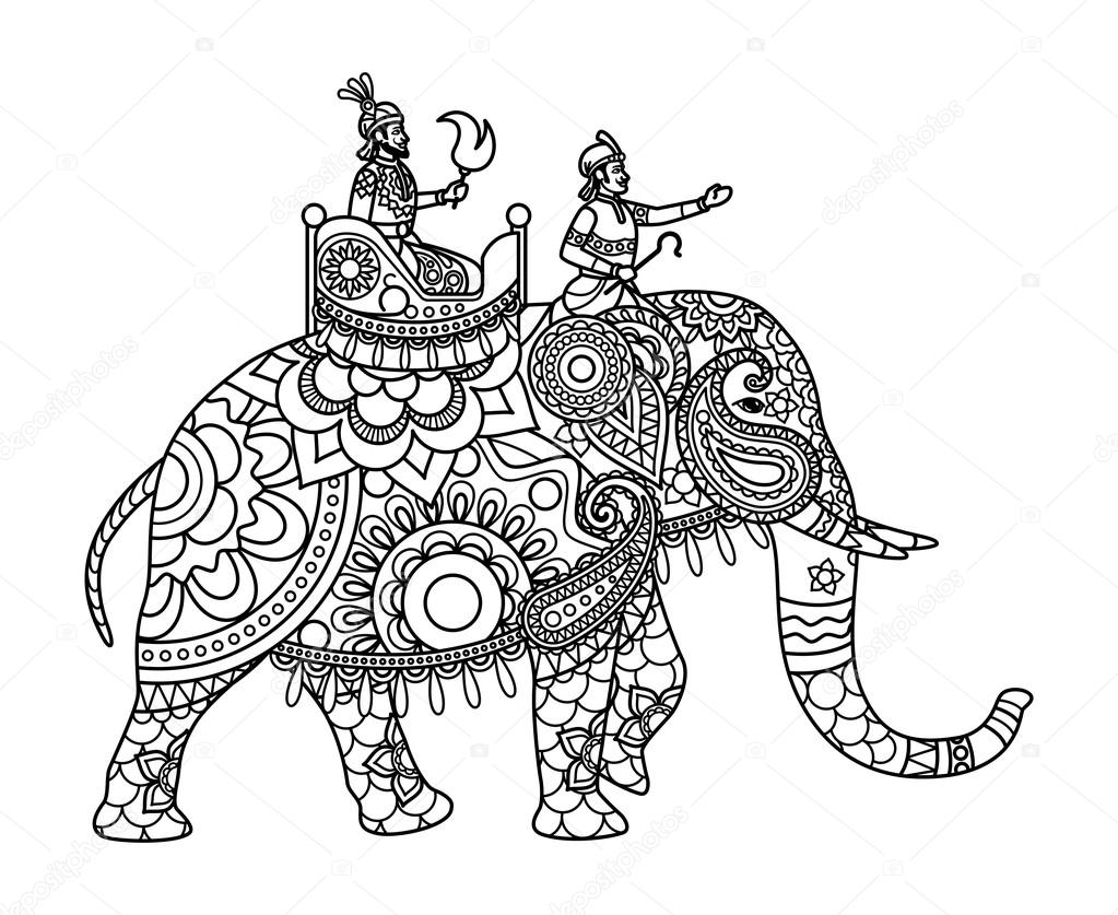 Indian Maharajah On Elephant Coloring Pages Stock Vector 116709436
