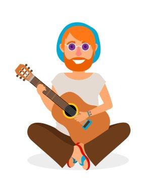 Hippie Man with Guitar vector icon