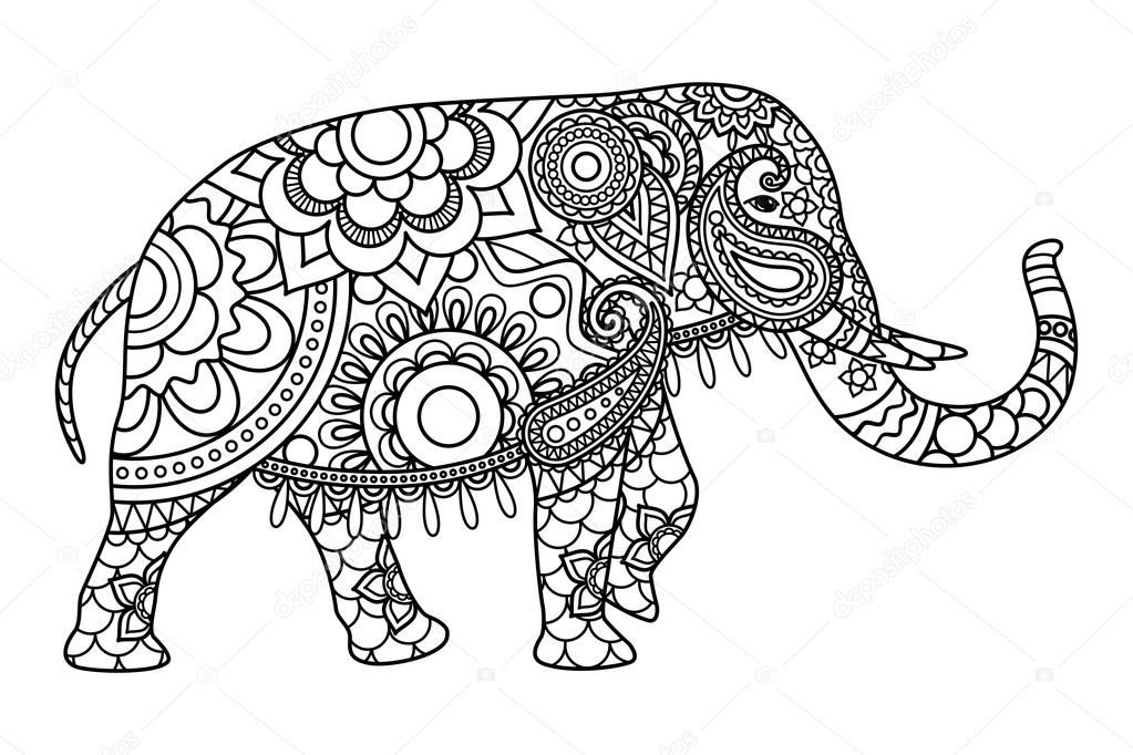 Indian elephant coloring pages template — Stock Vector © ssstocker ...