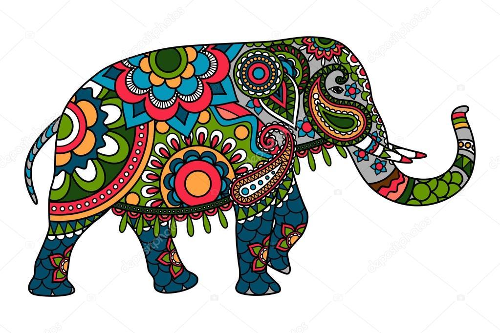Mandala elefante colores doodle color elefante indio vector de stock ssstocker 118065644 - Elephant indien dessin ...