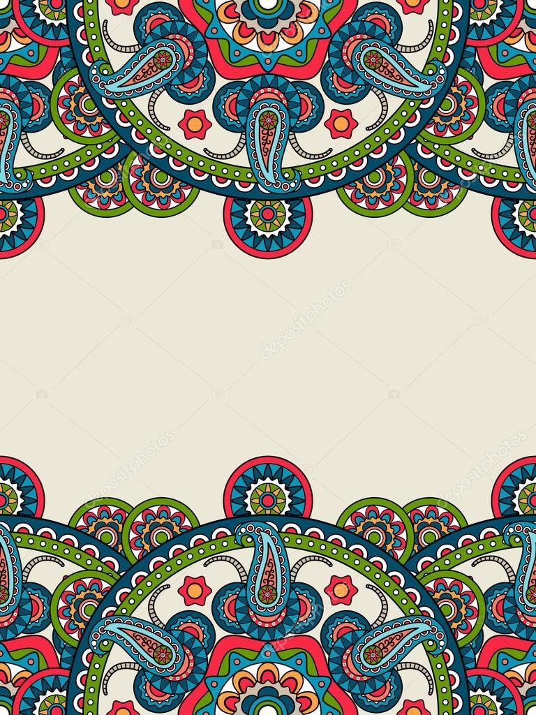 Marco Vertical De Mandalas Indios Boho Paisley Vector De Stock - Mandalas-indios