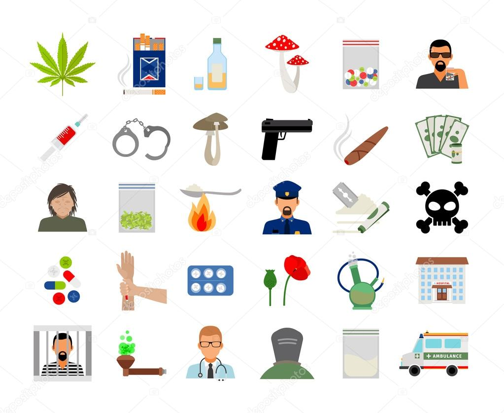 Drugs and addiction flat icons