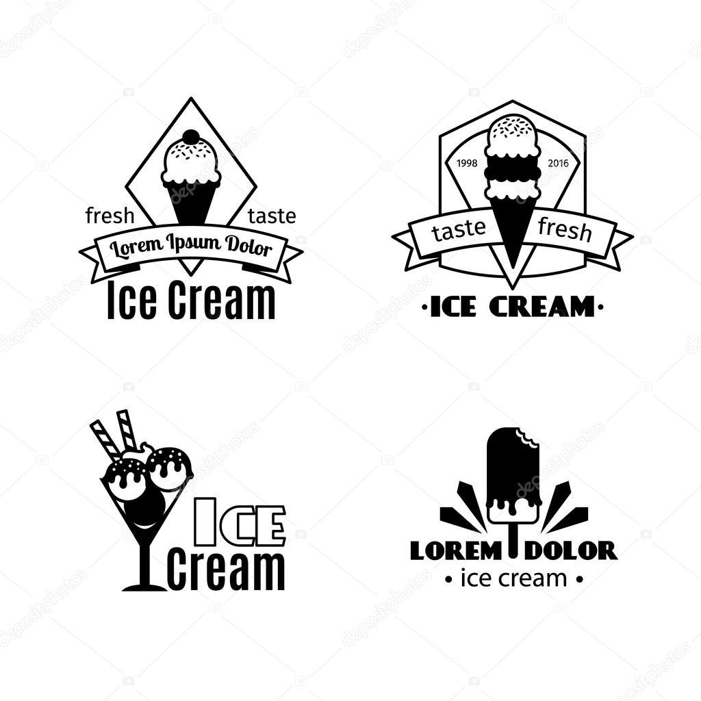 Plantillas de logotipo Vintage helado negro — Archivo Imágenes ...