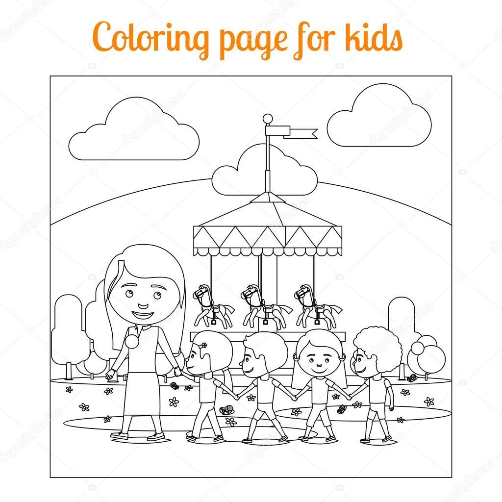 çocuklar Eğlence Parkı Için Boyama Sayfası Stok Vektör Ssstocker