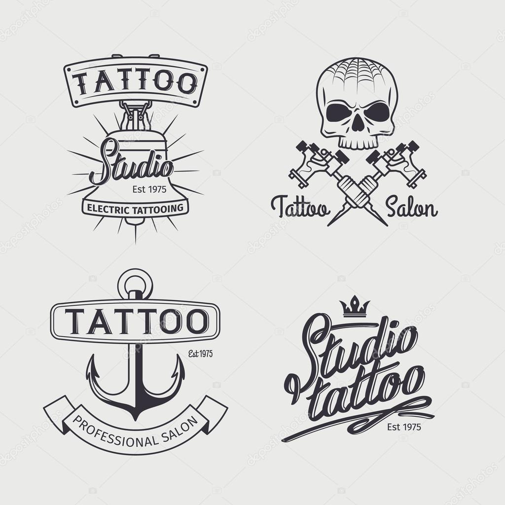 Tattoo Studio Logo Vorlagen Stockvektor Ssstocker 120832770