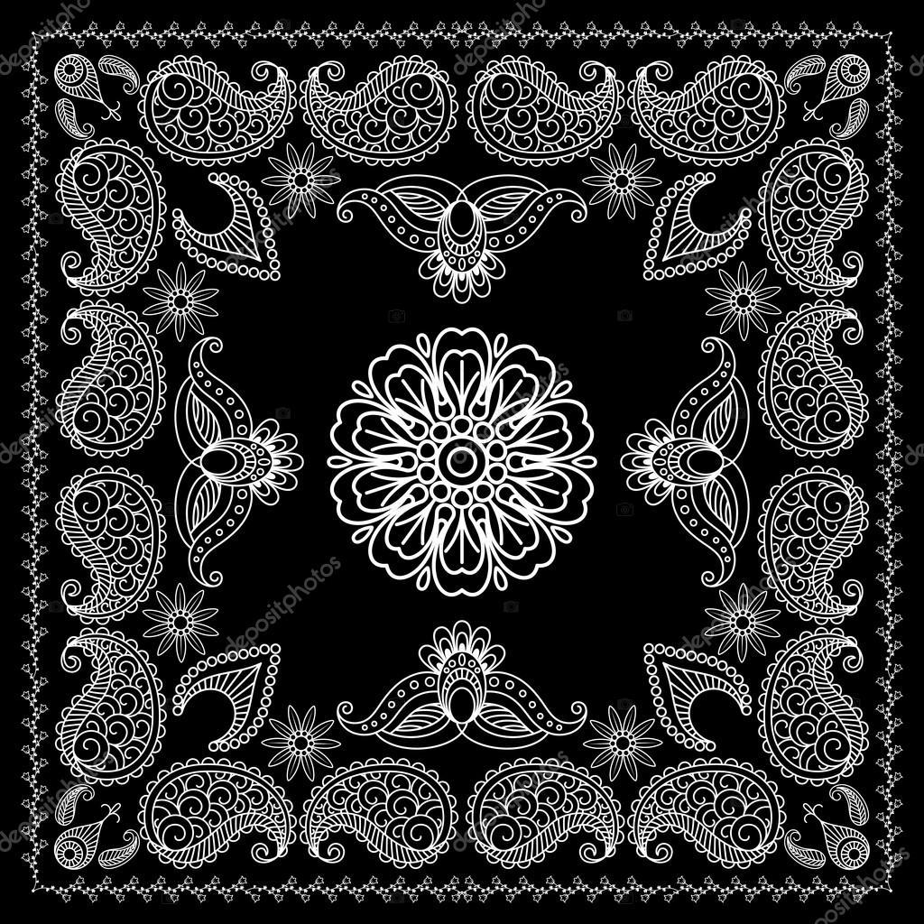 53ff8e25 Blanco y negro de henna estilo Bandana impresión — Archivo Imágenes ...